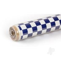 2m Oracover Fun-4 Small Chequered White/Dark Blue