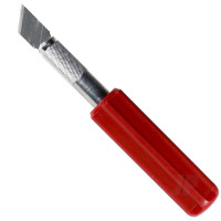 K5 Knife, Heavy Duty Red Plastic Handle with Safety Cap (Carded)