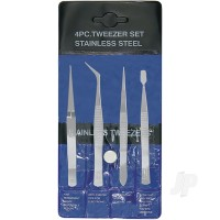 4-Piece Stainless Steel Tweezer Set with Pointed, Self Closing, Stamp, Curved (4pcs) (Pouch)