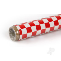 2m ORACOVER Fun-4 Small Chequered, White + Red (60cm width)