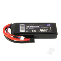 LiPo 2S 7600mAh 7.4V 25C Deans (HCT)