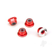 Nuts, aluminium, flanged, serrated (4mm) (red-anodized) (4pcs)