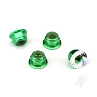 Nuts, aluminium, flanged, serrated (4mm) (green-anodized) (4pcs)