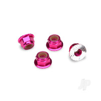 Nuts, aluminium, flanged, serrated (4mm) (pink-anodized) (4 pcs)