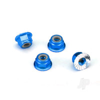 Nuts, aluminium, flanged, serrated (4mm) (blue-anodized) (4pcs)