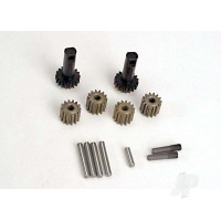 Planet gears (4pcs) / planet shafts (4pcs) / sun gears (2pcs) / sun gear alignment shaft (1pc) all hardened steel