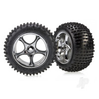 Tires & wheels, assembled (Tracer 2.2in chrome wheels, Alias 2.2in tires) (2pcs) (Bandit rear, soft compound with foam inserts)