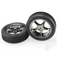 Tires & wheels, assembled (Tracer 2.2in black chrome wheels, Alias ribbed 2.2in tires) (2pcs) (Bandit front, Medium compound with foam inserts)
