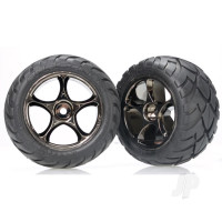 Tires & wheels, assembled (Tracer 2.2in black chrome wheels, Anaconda 2.2in tires with foam inserts) (2pcs) (Bandit rear)