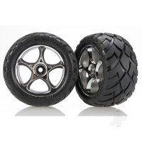 Tires & wheels, assembled (Tracer 2.2in chrome wheels, Anaconda 2.2in tires with foam inserts) (2pcs) (Bandit rear)