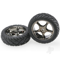 Tires & wheels, assembled (Tracer 2.2in black chrome wheels, Anaconda 2.2in tires with foam inserts) (2pcs) (Bandit front)