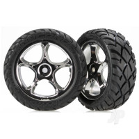 Tires & wheels, assembled (Tracer 2.2in chrome wheels, Anaconda 2.2in tires with foam inserts) (2pcs) (Bandit front)