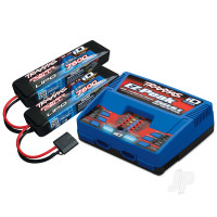 Battery / charger completer pack (includes #2972 Dual iD charger (1pc), #2869X 7600mAh 7.4V 2-cell 25C LiPo battery (2pcs))