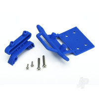 Bumper, front / bumper mount, front / 4x23mm RM (2pcs) / 3x10mm RST (2pcs) (blue)