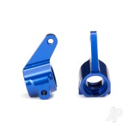 Steering blocks, Rustler / Stampede / Bandit (2pcs), 6061-T6 aluminium (blue-anodized) / 5x11mm ball bearings (4pcs)