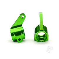 Steering blocks, Rustler / Stampede / Bandit (2pcs), 6061-T6 aluminium (green-anodized) / 5x11mm ball bearings (4pcs)