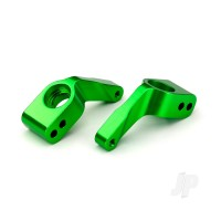 Stub axle carriers, Rustler / Stampede / Bandit (2pcs), 6061-T6 aluminium (green-anodized) / 5x11mm ball bearings (4pcs)