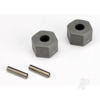 Wheel Hubs, hex (tall offset, Rustler / Stampede Front) (2 pcs) / axle pins (2.5x10mm) (2 pcs)