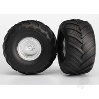 Tires & wheels, assembled, glued (satin chrome wheels, Terra Groove dual profile tires, foam inserts) (2WD electric rear) (2pcs)