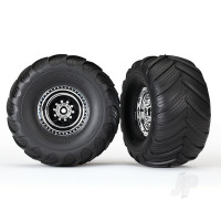 Tires & wheels, assembled, glued (chrome wheels, Terra Groove dual profile tires, foam inserts) (2WD electric rear) (2pcs)