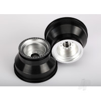 Wheels, satin chrome, dual profile (2.0in outer, 3.0in inner) (nitro rear / electric front) (2pcs)