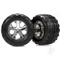 Tires & wheels, assembled, glued (2.8in) (All-Star chrome wheels, Talon tires, foam inserts) (2WD electric rear) (2pcs)