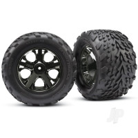 Tyres & wheels, assembled, glued (2.8in) (All-Star black chrome wheels, Talon Tyres, foam inserts) (nitro rear / electric front) (2pcs) (TSM rated)