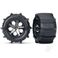 Tires & wheels, assembled, glued (2.8in) (All-Star black chrome wheels, paddle tires, foam inserts) (2WD electric rear) (2pcs) (TSM rated)