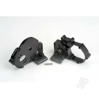 Gearbox halves (left & right) (black) with idler gear shaft