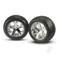 Tyres & Wheels, assembled, glued (2.8in) (All-Star chrome wheels, Alias Tyres, foam inserts) (2WD electric rear) (2pcs)