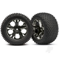 Tyres & wheels, assembled, glued (2.8in) (All-Star black chrome wheels, Alias Tyres, foam inserts) (rear) (2pcs) (TSM rated)
