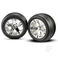 Chrome Wheels & Ribbed Tyres (Pair)