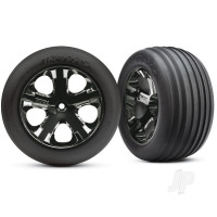 Tyres & wheels, assembled, glued (2.8in) (All-Star black chrome wheels, ribbed Tyres, foam inserts) (electric front) (2pcs)