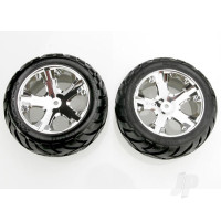 Tyres & wheels, assembled, glued (All Star chrome wheels, Anaconda Tyres, foam inserts) (2WD electric rear) (1 left, 1 right)
