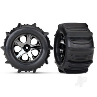 Tyres & Wheels, assembled, glued (2.8in) (All-Star black chrome wheels, paddle Tyres, foam inserts) (nitro rear / 4WD electric front & rear) (2pcs) (TSM rated)