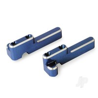 Servo mounts, steering / shift (machined aluminium) (blue) (front& rear) / machine screws (8pcs)