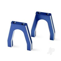 Servo mounts, throttle / brake (machined aluminium) (blue) (front& rear) / machine screws (8pcs)