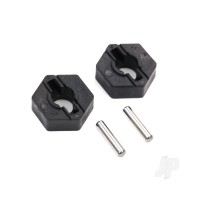 Wheel hubs, hex (2pcs) / axle pins (2.5x12mm) (2pcs)