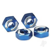 Wheel hubs, hex, 6061-T6 aluminium (blue) (4pcs) / axle pins (2.5x10mm) (4pcs)