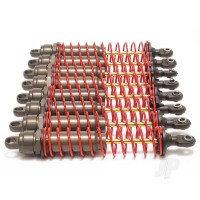 Big Bore shocks (XX-Long) (hard-anodized & PTFE-coated T6 aluminium) (assembled) with red springs, TiN shafts (8 pack)