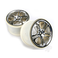 Wheels, SS (split spoke) 3.8in (chrome) (2pcs) (fits Revo / Maxx series)