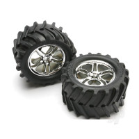 Tyres & wheels, assembled, glued (SS (Split Spoke) chrome wheels, Maxx Chevron Tyres, foam inserts) (2pcs) (fits Maxx / Revo series)