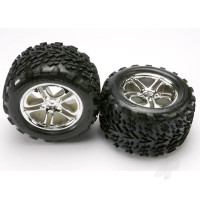 Tyres & wheels, assembled, glued (SS (Split Spoke) chrome wheels, Talon Tyres, foam inserts) (2pcs) (fits Maxx / Revo series)