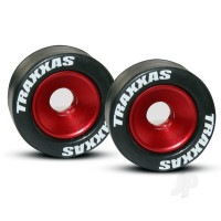 Wheels, aluminium (red-anodized) (2pcs) / 5x8mm ball bearings (4pcs) / axles (2pcs) / rubber tires (2pcs)