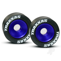 Wheels, aluminium (blue-anodized) (2pcs) / 5x8mm ball bearings (4pcs) / axles (2pcs) / rubber Tyres (2pcs)