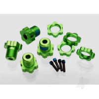 Wheel hubs, splined, 17mm (green-anodized) (4pcs) / wheel nuts, splined, 17mm (blue-anodized) (4pcs) / screw pins, 4x13mm ( with threadlock) (4pcs)