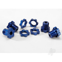 Wheel hubs, splined, 17mm (blue-anodized) (4pcs) / wheel nuts, splined, 17mm (blue-anodized) (4pcs) / screw pins, 4x13mm ( with threadlock) (4pcs)