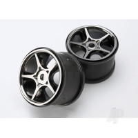 Wheels, Gemini 3.8in (black chrome) (2pcs) (use with 17mm splined wheel hubs & nuts, part #5353X)