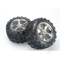 Tires & wheels, assembled, glued (Gemini chrome wheels, Talon tires, foam inserts) (2pcs) (also fits Maxx series)
