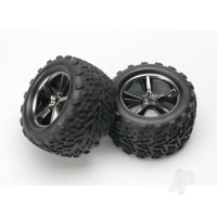 Tyres & Wheels, assembled, glued (Gemini black chrome wheels, Talon Tyres, foam inserts) (2pcs)